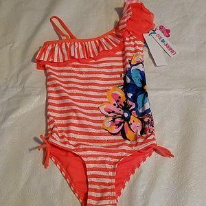 Limited Too Orange Flower Bathing Suit  Sz 7/8 NEW